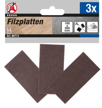 Tacos de fieltro Placas marrón 100 x 200 mm 3 piezas